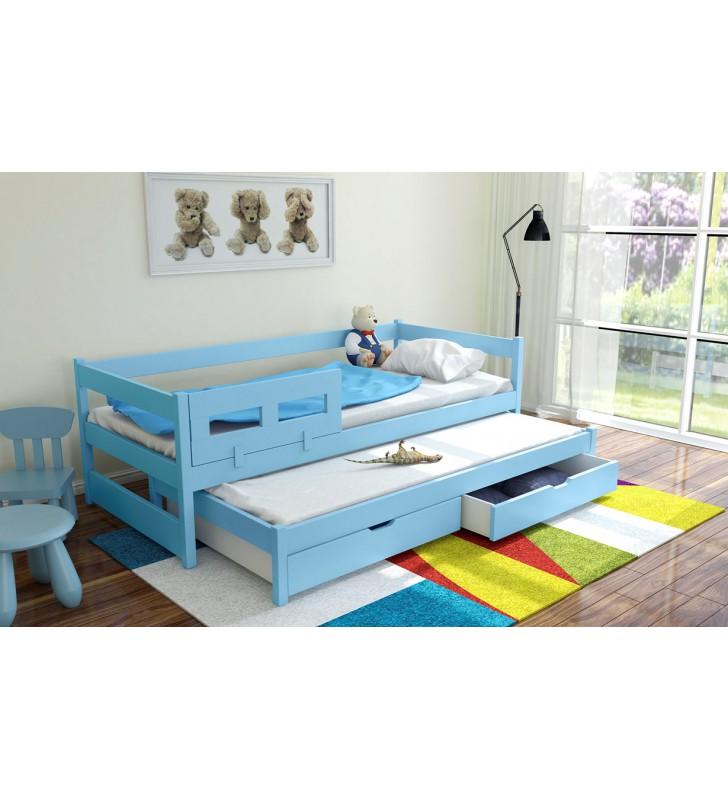 Łóżko niebieskie, dwuosobowe z szufladami KMLk5n
