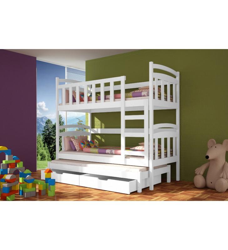 Łóżko białe, trzyosobowe, piętrowe z szufladami KMLk4b