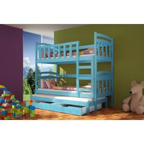 Łóżko niebieskie, trzyosobowe, piętrowe z szufladami KMLk4n