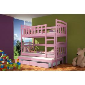 Łóżko różowe, trzyosobowe, piętrowe z szufladami KMLk4r