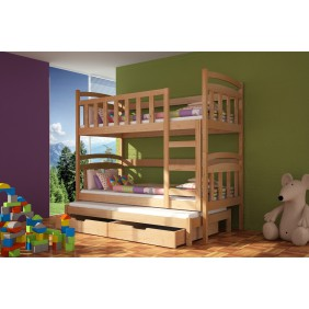 Łóżko sosnowe, trzyosobowe, piętrowe z szufladami KMLk4sos