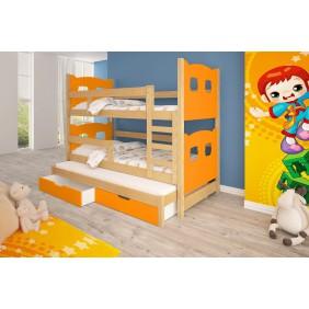 Łóżko pomarańczowe, trzyosobowe, piętrowe z szufladami KMLk13pA