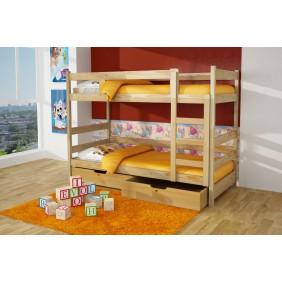 Łóżko dwuosobowe, piętrowe z szufladą na pościel KMLk16sos