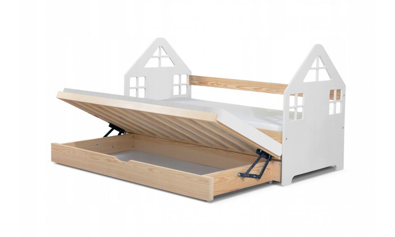 Łóżko białe, dwuosobowe z pojemnikiem na pościel KMLk15b
