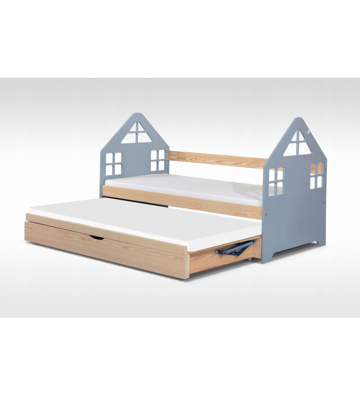 Łóżko szare, dwuosobowe z pojemnikiem na pościel KMLk15sz