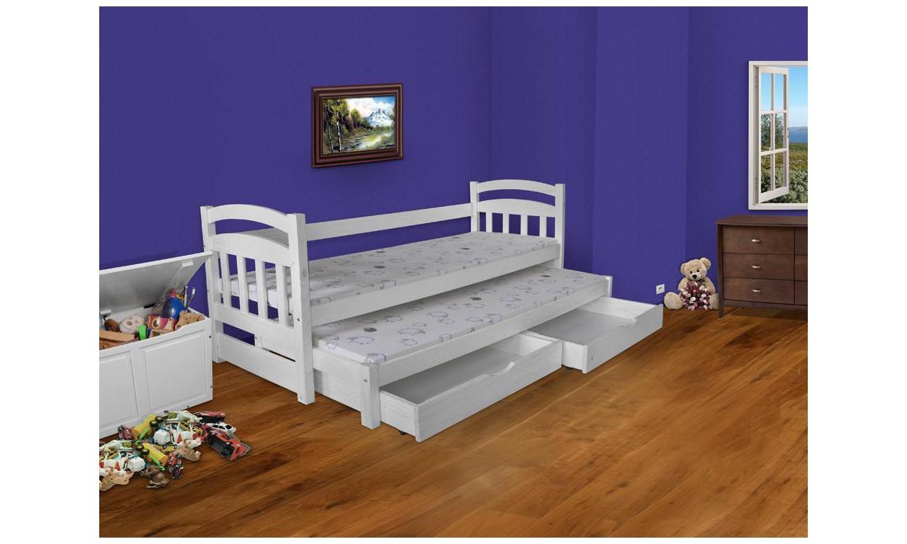 Łóżko białe, dwuosobowe z szufladami KMLk17b