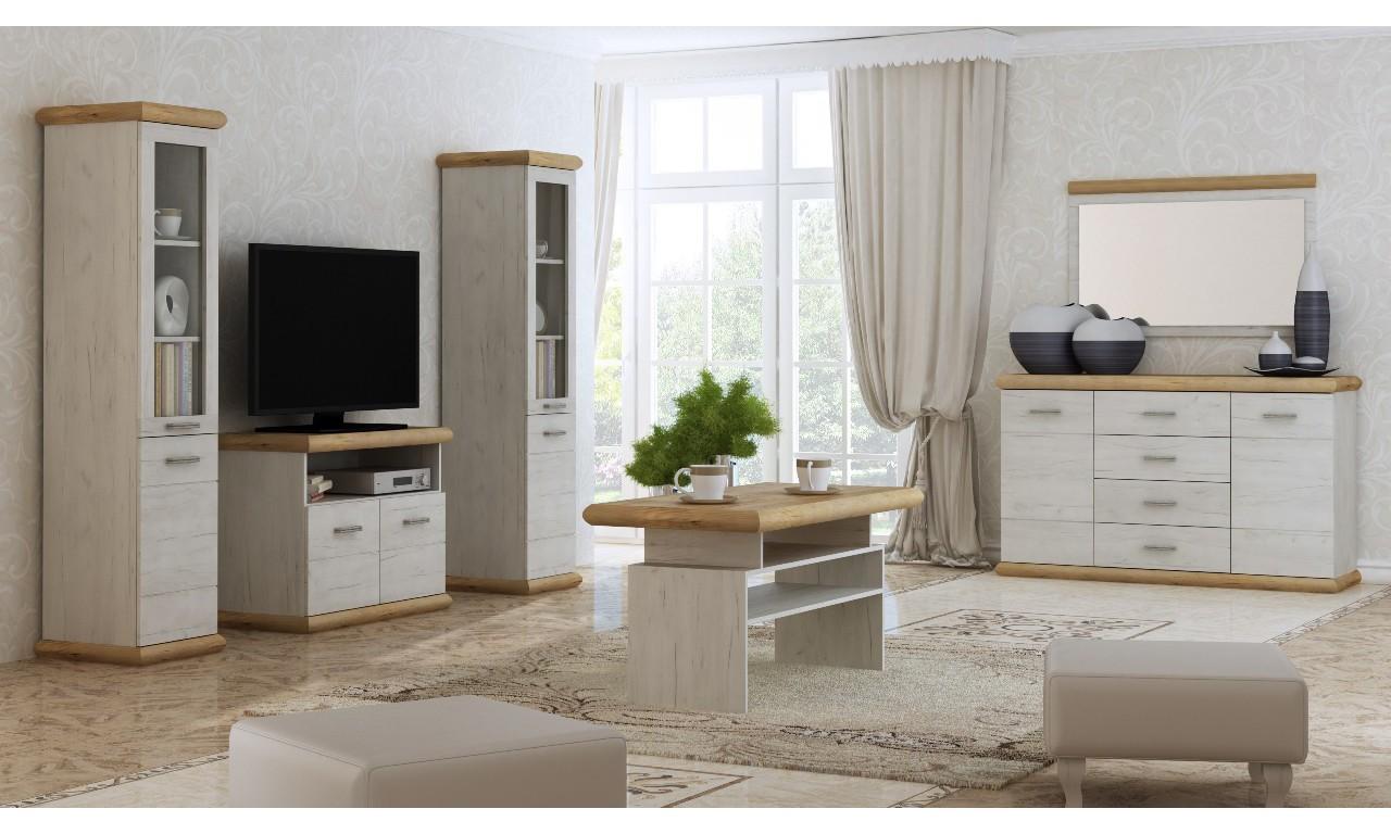 Szeroki stolik TV w stylu prowansalskim Kora K-11
