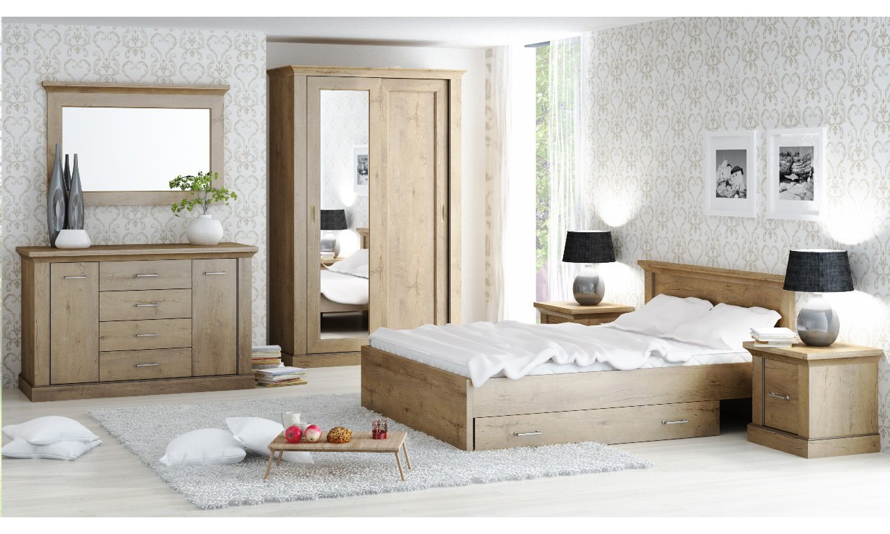 Brązowe łóżko (160x200 cm) w stylu klasycznym Antica A-5