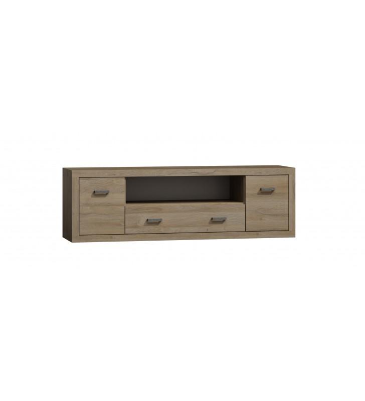 Szeroki, brązowy stolik RTV w stylu nowoczesnym Orlando O-9