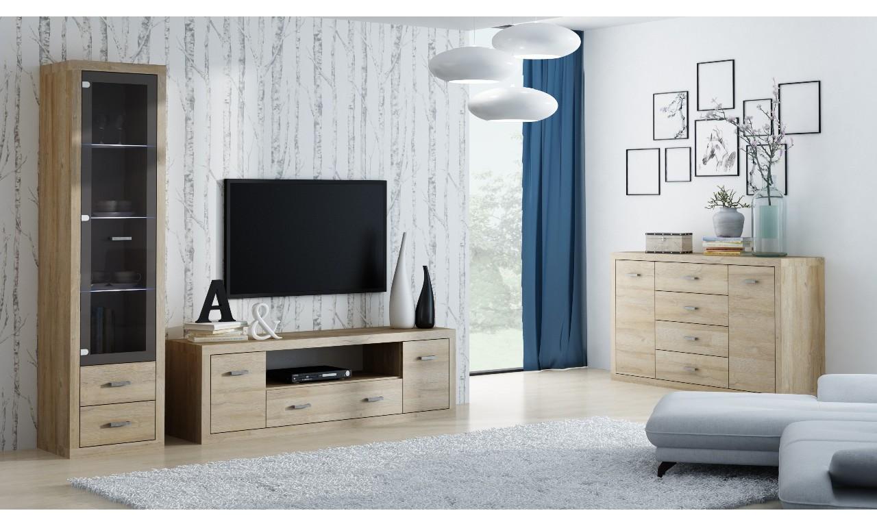Brązowy stolik TV w stylu nowoczesnym Orlando O-10