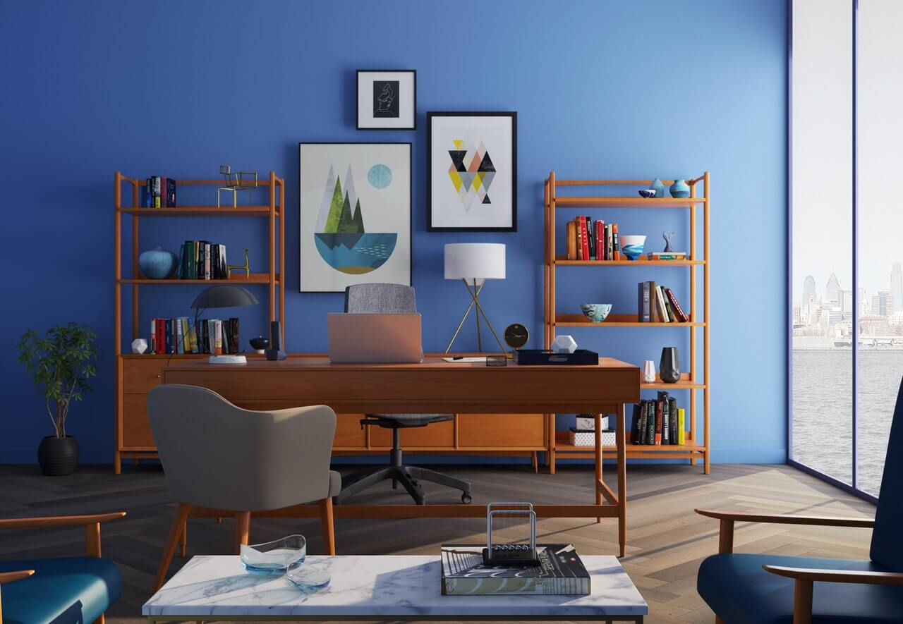 meble do niebieskich ścian w salonie